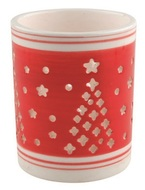 Ceramic Candle Holder with Tree, Red and white 9 cm