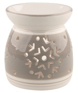 Ceramic Aroma Lamp with Snowflakes Grey and White 11,4 cm