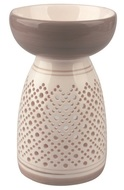 Ceramic Aroma Lamp Tall, Grey and White 16 cm