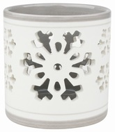 Ceramic Candle Holder with Snowflake, Grey and white 8 cm