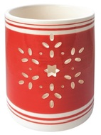 Ceramic Candle Holder with Snowflake,Red 8 cm
