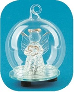 Glass Ball with Angel 6 cm, LED
