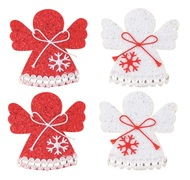 Angel with Double-sided Sticker 6 cm,4 pcs in Bag, Red and White
