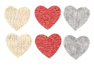 Heart with Double-sided Sticker 3 cm,6 pcs in Bag, 3 colours