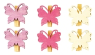 Wooden Butterflies with Peg 4 cm, 6 pcs