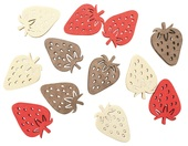 Wooden Strawberries 4 cm, 12 pcs