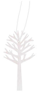 Hanging Wooden Tree 10 cm, White