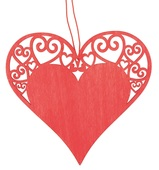 Hanging Wooden Heart 10 cm, Red