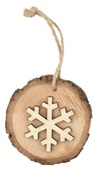 Hanging Wooden Oval w/Snowflake 7 cm
