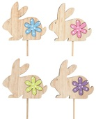 Wooden Rabbit w/Flower 8 cm + Stick