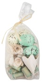 DIY Components (eggs,wooden items) 100 g,turquois,white