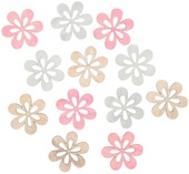 Wooden Flowers 4 cm, 12 pcs