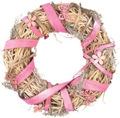 Natural Wreath w/ Pink Ribbon dia 25 cm