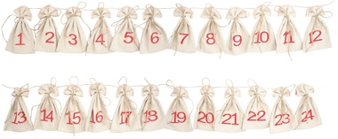 Advent Calendar,Cotton Bags 8x13 cm, 24 pcs