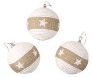 Baubles Shatterproof 8 cm, Set of 3, White with Jute Stripe and Stars