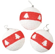 Baubles Shatterproof 8 cm, Set of 3, White with Red Stripe and Trees