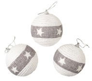 Baubles Shatterproof 8 cm, Set of 3, White with Grey Stripe and Stars