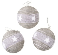 Baubles Shatterproof 8 cm, Set of 3, Grey with Stars