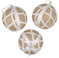 Baubles Shatterproof 8 cm, Set of 3, Jute with White design