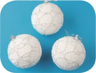 Baubles Shatterproof 8 cm, Set of 3, White with Silver Glitter