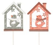 Wooden House w/Bird 8 cm + Stick