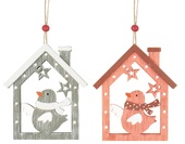 Hanging Wooden House w/Bird 8 cm