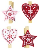 Felt Stars and Hearts with Peg 3,5 cm, 12 pcs