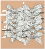 Velvet Ribbon Bow 8 cm, 12 pcs Silver