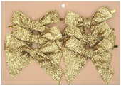 Velvet Ribbon Bow 10 cm, 6 pcs Gold