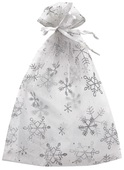 White Organza Bag with silver snowflakes 15x22 cm