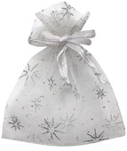White Organza Bag with silver stars 7x9 cm