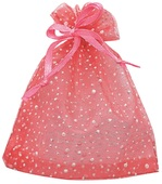 Red Organza Bag with glitters 15x22 cm