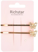 Hair Slides with Butterfly 7,5 cm 2 pcs, Golden