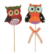 Decoration Felt Owl Orange and Red 6 cm + Stick