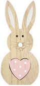 Standing Wooden Rabbit w/Pink Heart 20 cm