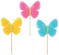 Decoration on Stick 7 cm, Felt Butterfly + Stick