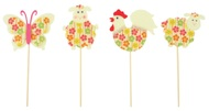 Decoration on Stick 8 cm, Sheep, Rooster, Butterfly + Stick