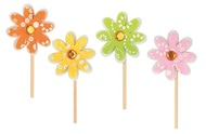 Decoration on Stick 4 cm+ stick, Flower, Felt