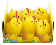 Easter Chicken 4 cm with Feather, 6 pcs Box