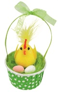 Chicken with Eggs in Green Basket 12 cm