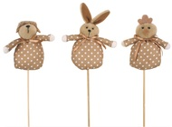 Brown Fabric Easter Animal 9 cm + Stick
