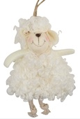Hanging White Curly Sheep 13 cm