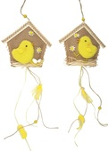 Hanging Jute House with Yellow Chicken 14 cm