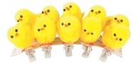 Plush Chicken on Clip 3 cm, 10 pcs pack