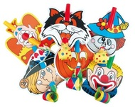 Paper Blowouts with Clown, 6 pcs