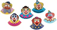 Party Cone Hat with Clown 6 pcs