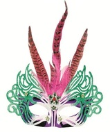 Masquerade Mask 30 cm Pink w/Feathers