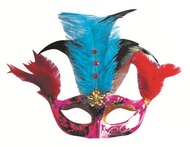 Masquerade Mask 22 cm Violet w/Blue Feathers