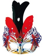 Masquerade Mask 30 cm Golden w/Colourful Feathers