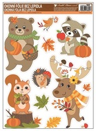 Self-Adhering Window Decoration 42x30 cm, Autumn Animals